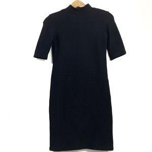 Zara Black Cap Sleeve Bodycon Ribbed Dress